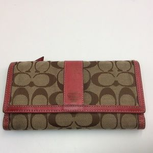 Coach red and brown signature print wallet